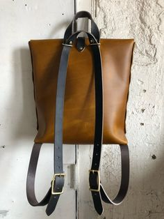 Ochre and indigo convertible rucksack image 3 Small Backpack, Backpack Bags, Leather Backpack, Leather Bag, Leather Handbags, Tote Bag, My Bags, Purses And Bags, Bleu Indigo