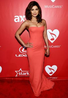Priyanka wore this for the 25th anniversary MusiCares 2 Bob Dylan at the Los Angeles Convention Center.