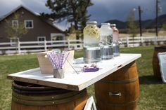 Wedding Details and Decor for a Spring Outdoor Wedding at Crooked Willow Farms in Larkspur, CO Drink/ Water Station Wedding 2017, Fall Wedding, Wedding Ideas, Wedding Crafts, Wedding Decorations, Table Decorations, Willows Farm, Drinking Water, Farms