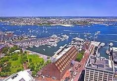 Boston Waterfront. Great shot of Long Wharf, Commercial Wharf and Christopher Columbus Park