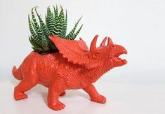 E ainda: replante as suculentas em dinossauros de plástico.