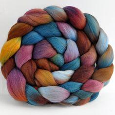 Wool Roving Polwarth / Silk  Hand Dyed Nebula  by clawtreefibers, $19.00