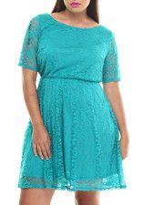Plus Size - Lace 3/4 Sleeve Skater Dress (Plus)