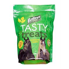 Baileys Tasty Treats 750g Baileys Tasty Treats are the deliciously healthy snack that without fail your horses or ponies will simply adore These  crunchy pieces utilise natural fibres mixed with essential oils to create a fragrant snack that horses enjoy the smell of.