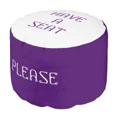 Please Have A Seat Purple Smoke Round Pouf by Janz