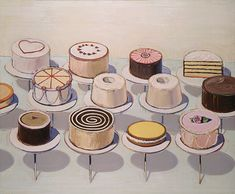Wayne Thiebaud, Cakes, 1963.  Counting On Art, frosted fractions for grades 2 - 5 from The National Gallery of Art classroom.