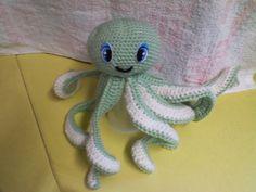 Amigurumi octopus, green handmade with acrylic yarn, plastic eyes by 4GIRLSDESIGNANDGIFTS on Etsy