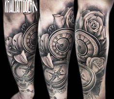 Watch and Roses tattoo by Khail Tattooer