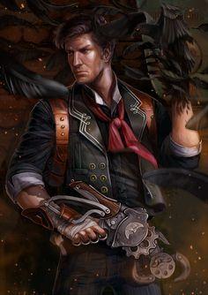 Bioshock: Booker DeWitt - Created by Ekaterina Chernikova Bioshock 2, Bioshock Infinite, Bioshock Artwork, Bioshock Rapture, Bioshock Series, Life Is Strange, King's Quest, Cyberpunk 2077, Big Daddy