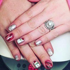 Christmas nails  Gel polish mani with stamps