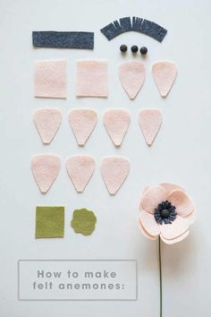 how to make a simple and beautiful felt anemone flower! All the petals you will need to make a darling felt anemone!All the petals you will need to make a darling felt anemone! Handmade Flowers, Diy Flowers, Fabric Flowers, Paper Flowers, Felt Flowers Patterns, Felted Flowers, Origami Flowers, Diy Fleur, Diy And Crafts