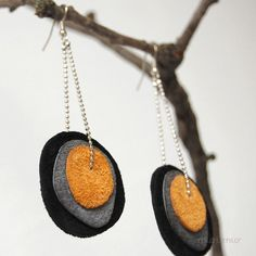 Fashion urban earrings from recycled layered leather in a fall-winter colors. Black, gray and orange. Ready to ship.. $18.00, via Etsy.