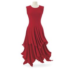 Lettuce-edged scarlet dress from the Pyramid Collection
