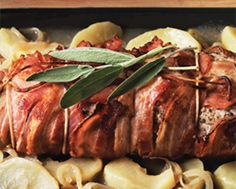 Bacon-Wrapped Pork Loin with Apples & Sage