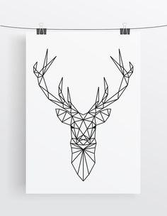 Ideas For Geometric Art Deer Tattoo Ideas Art Prints, Geometric Deer, Creative, Geometric Drawing, Art, Geometric, Diy Art, Deer Tattoo, Diy Tattoo