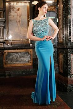 Tinaholy Couture Picasso P16105 Lake Blue Beaded V Back Formal Gown Dress