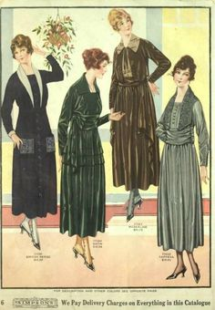 1918 Silk and Velvet Dresses- Worn for day or afternoon. Notice the high waistline but with a large ruched waistband. The length has also shortened to an easier walking length (and getting in and out of cars and buses)