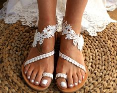 """care business Handmade to order/ lace sandals/ bridal sandal/ wedding shoes/ off white wedding sandals/ flat lace sandals/ beach sandals/ """"WILDFLOWERS"""" Wedding Sandals For Bride, Bridal Sandals, Bride Shoes, Wedding Beach, Beach Ceremony, Wedding Converse, Blue Wedding, Wedding Wedges, Wedding Rings"""
