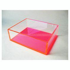 Clear Pink Acrylic Display Box, Neon Pink Acrylic Organizing Box, Craft Box, Sales Display,Cosmetics Shadow Box