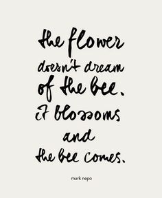 The flower doesn't dream of the bee. It blossoms and the bee comes. -Mark Nepo Quote #quote #quoteoftheday #inspiration