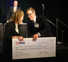 From Twin Cities Habitat for Humanity: Thanks US Bank! They led the way at last week's Mpls/St.Paul Biz Journal awards honoring top places to work. Executives from each company gave acceptance speeches and made donated to Twin Cities Habitat for the length of their speech. US Bank had a lot to say (and give)! You guys are such a great partner in our mission.