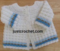 Free crochet pattern for textured crochet baby coat/sweater http://www.justcrochet.com/justcrochet-site8_160.htm #justcrochet #freecrochetpatterns