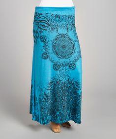 Love this Teal & Black Medallion Maxi Skirt - Plus on #zulily! #zulilyfinds