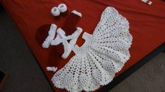 Christmas. crochet baby dress outfit with jacket hat and Christmas Jacket, Christmas Time, Crochet Bebe, Crochet For Kids, Baby Dress Clothes, Baby Dresses, Custom Baby Gifts, Baby Patterns, Baby Items