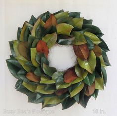 Everlasting Green Magnolia Leaf Wreath-Custom Order -Year Round Wreath, Summer/Fall Wreath, Centerpiece, Candle Ring, Front Door Wreath