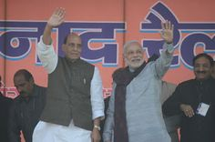BJP national president Rajnath Singh and party Prime Ministerial Candidate and Gujarat chief minister Narendra Modi addressing Shankhnad Rally at Dehradun.