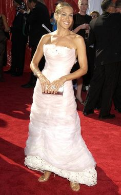 Sarah Jessica Parker | Celebrating her fifth consecutive nomination for Sex and the City , Parker took a risk in a pale pink Chanel gown with layers of organza.…