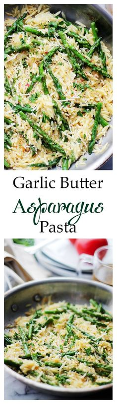 Garlic Butter Asparagus Pasta - Orzo pasta and fresh asparagus tossed in a garli.Garlic Butter Asparagus Pasta - Orzo pasta and fresh asparagus tossed in a garlic butter sauce and parmesan cheese. It's a garlicky and cheesy pasta Veggie Dishes, Pasta Dishes, Vegetable Recipes, Food Dishes, Main Dishes, Vegetarian Recipes, Healthy Recipes, Side Dishes, Asparagus Pasta