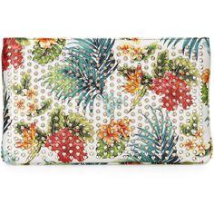 Christian Louboutin Loubiposh Hawaii Clutch Bag ($1,330) ❤ liked on Polyvore featuring bags, handbags, clutches, hand bags, white hand bags, chain handbags, print purse and shoulder strap handbags
