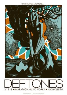 INSIDE THE ROCK POSTER FRAME BLOG: Tonight's Deftones poster from Nashville by Jermaine Rogers & Anville