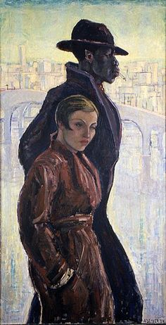 """The Strange Couple / Anja Decker / 1934 / """"Oil on canvas painting depicting a self portrait of the blonde artist juxtaposed against a profile of a much taller black male; both figures are wearing raincoats with the male is also wearing a hat and smoking a cigarette; cityscape with bridge in background."""" --The Wolfsonian–Florida International University"""