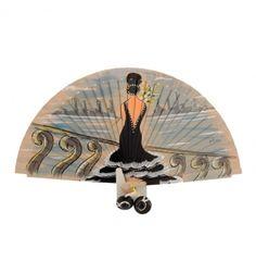 Abanico madera beige con dama negra - Paula Alonso - Tienda online