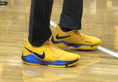 "#sneakers #news Paul George Wears New ""Flip The Switch"" Nike PG1 PE In Game 3 Loss Nike Paul George, The Pacer, Indiana Pacers, Team S, Purple Gold, Sneakers Nike, Game 3, How To Wear, Blue"