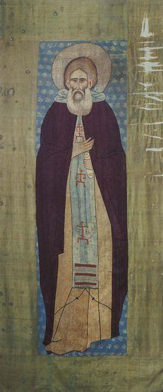 """Покров Сергия Радонежского, начало XV в., портрет Сергия на всю длину саркофага, портретным чертам можно """"доверять"""", Лавра"""