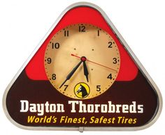 Dayton Thorobred's (tires) neon clock, triangular