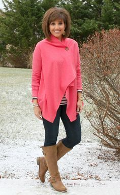 I love the look and the color.  I like tall boots with leggings.
