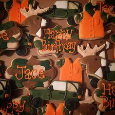Hunting Deer Camo Decorated Sugar Cookies Camo Cookies, Iced Cookies, Custom Cookies, Fun Cookies, Cupcake Cookies, Sugar Cookies, Camo Birthday Party, 2nd Birthday Party For Boys, Hunting Birthday