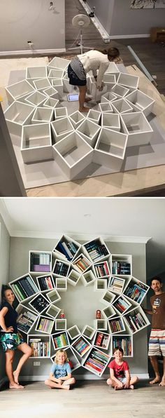 The best DIY projects & DIY ideas and tutorials: sewing, paper craft, DIY. Best DIY Furniture & Shelf Ideas 2017 / 2018 With so many projects being DIY fails, this family has found a win with this -Read Creative Bookshelves, Bookshelf Design, Diy Bookcases, Bookshelf Ideas, Home Projects, Diy Design, Design Trends, Wall Design, Logo Design