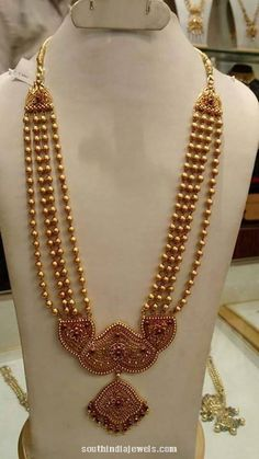 Cool Beaded chain for the simple bride Kids Gold Jewellery, Temple Jewellery, Gold Jewelry, Diamond Jewellery, Antique Necklace, Beaded Necklace, Antique Jewelry, Gold Necklace, Jewelry Patterns