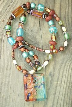 Bohemian Chunky Czech Glass Copper Turquoise by BohoStyleMe, $48.00