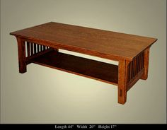 Craftsman style coffee table.  I have made one similar to this in Oak.  I plan to make one in Cherry.