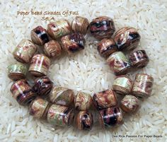 Paper Beads Shades Of Fall  Set A by PassionForPaperBeads on Etsy, $12.00