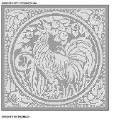 546 Rooster with veggies filet crochet doily afghan pattern wallhanging Crochet Afghans, Crochet Patterns Filet, Crochet Cat Pattern, Crochet Birds, Afghan Patterns, Doily Patterns, Thread Crochet, Crochet Motif, Crochet Doilies