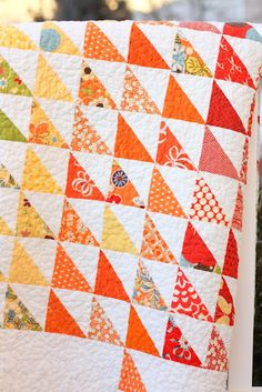 Spectrum Half Square Triangle quilt  from Diary of a Quilter