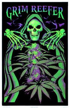 Grim Reefer Marijuana Pot Blacklight Poster Print 24 x Poster Art, Poster Prints, Art Prints, Uicideboy Wallpaper, Arte Hippy, Cannabis Wallpaper, Weed Pictures, Weed Pics, Psychedelic Art