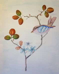 25ème jour. L'oiseau sur une branche.  Aquarelle et Feuilles d'Automne.  #flowleaf2015 #flowmagazine_fr #Aquarelle #lovebirds #automne2015 #sweetday #artist #midipyrenees #tarn #DominiqueBlancCreation #aliasLysaDomi #Art